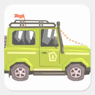 Green suv Safari Car. Cool Colorful Vector Illustr Square Sticker