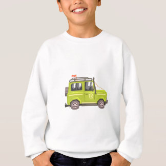 Green suv Safari Car. Cool Colorful Vector Illustr Sweatshirt