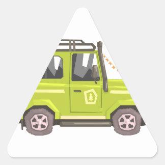 Green suv Safari Car. Cool Colorful Vector Illustr Triangle Sticker
