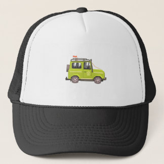 Green suv Safari Car. Cool Colorful Vector Illustr Trucker Hat
