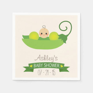 Green Sweet Pea Baby Shower Disposable Napkin