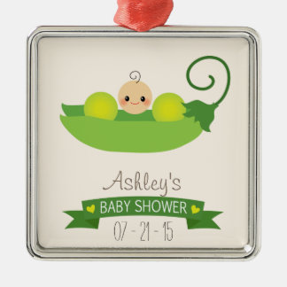 Green Sweet Pea Baby Shower Silver-Colored Square Decoration