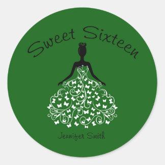 Green Sweet Sixteen Butterfly Gown Envelope Seals Round Sticker