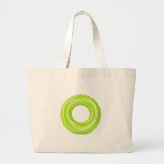 Green swim ring large tote bag