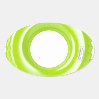 Green swim ring oval sticker