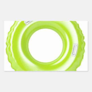 Green swim ring rectangular sticker
