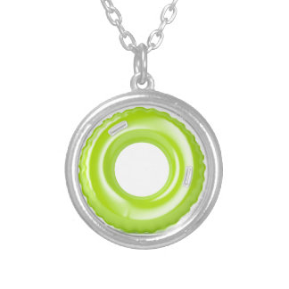 Green swim ring silver plated necklace