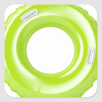 Green swim ring square sticker