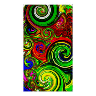Green Swirl Abstract Painting Poster