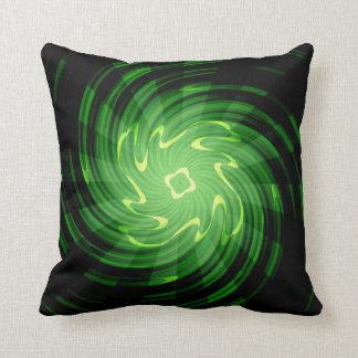 Green Swirl light rays Art Design Cushion