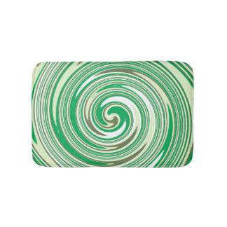 Green swirl pattern bath mats