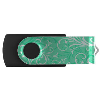 Green Swirl Pattern USB Flash Drive