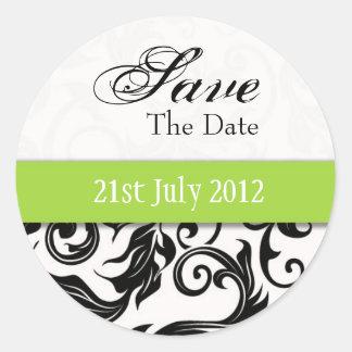 Green Swirl Save The Date Sticker