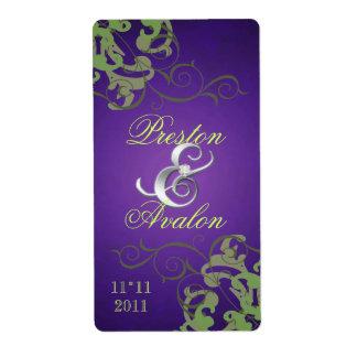 Green Swirl Silver Jewelled Purple Wine Label Shipping Label