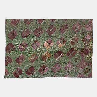 Green Swirls and Earth Tones Tea Towel