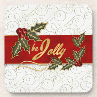 Green Swirls Be Jolly with Holly and Berries Coaster