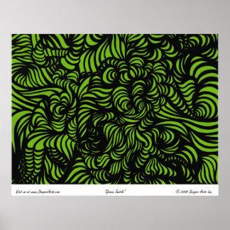 Green Swirls Poster