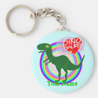 Green T-Rex Dinosaur Keychain with Name