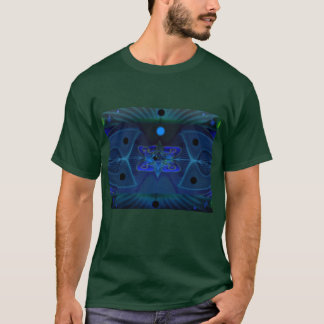 Green T-shirt w Digital Image 'Spaceship Interior'