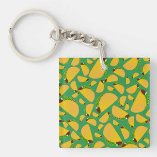 Green tacos Single-Sided square acrylic key ring
