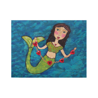 Green Tailed Folk Art Mermaid String of Hearts Wood Poster