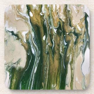 Green & Tan Abstract Coasters (set of 6)
