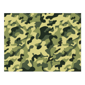 Green Tan Black Camouflage Pattern Background Postcard