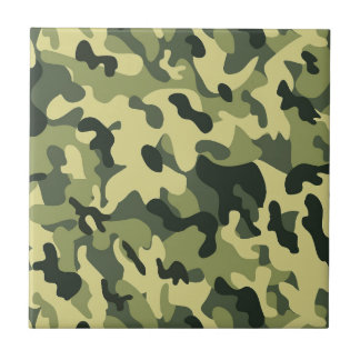 Green Tan Black Camouflage Pattern Background Small Square Tile
