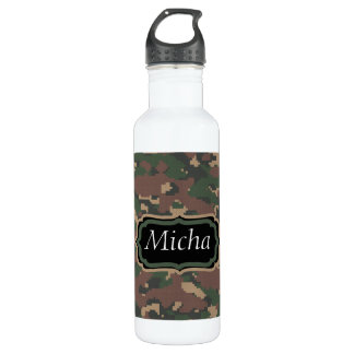 Green Tan Brown Camo Custom Monogram 710 Ml Water Bottle