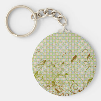 Green & Tan Floral Swirls on Green Pattern Key Ring