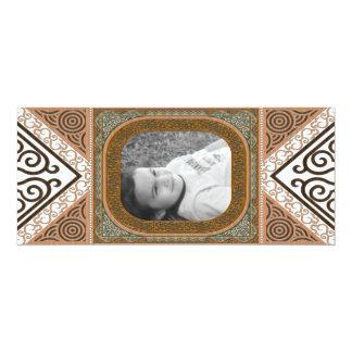 Green & Tan Latticework Photo Frame Invitation