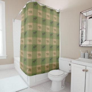 Green Tan Moose Bear Pattern Shower Curtain