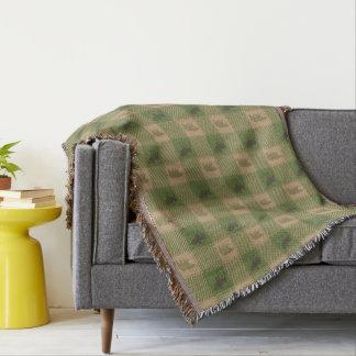 Green Tan Moose Bear Pattern Throw Blanket