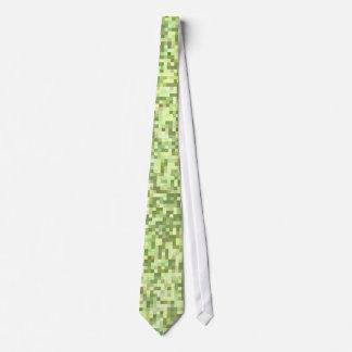 Green & Tan Pixels Tie