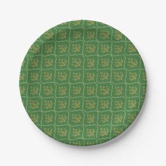 Green Tapestry Paper Plate