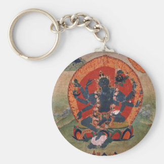 Green Tara Buddhist Deity Basic Round Button Key Ring