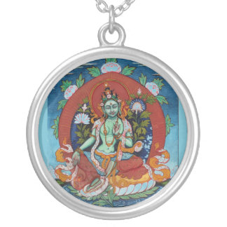 Green Tara Silver Plated Necklace