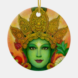 """Green Tara's Face"" Round Christmas Ornament"