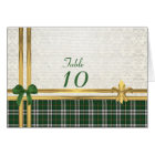 Green tartan & gold on white damask table number