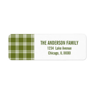 Green Tartan Plaid Christmas Address Labels