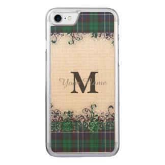 Green tartan plaid monogram carved iPhone 7 case