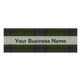 Green tartan plaid pack of skinny business cards