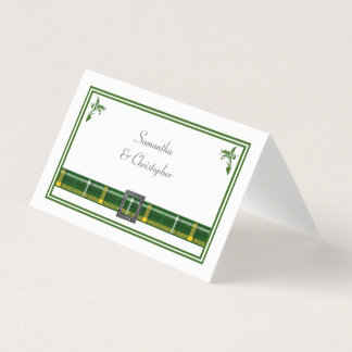 Green tartan plaid wedding place card