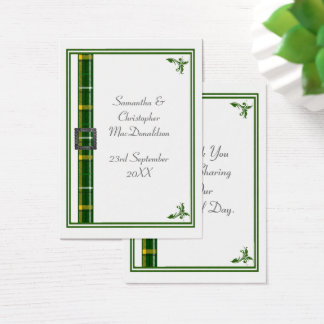 Green tartan ribbon wedding thank you tag