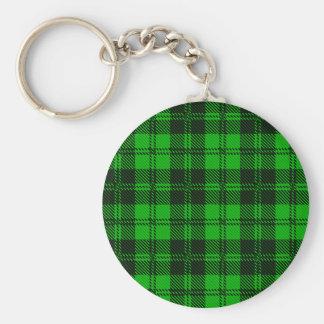 Green Tartan Wool Material Basic Round Button Key Ring