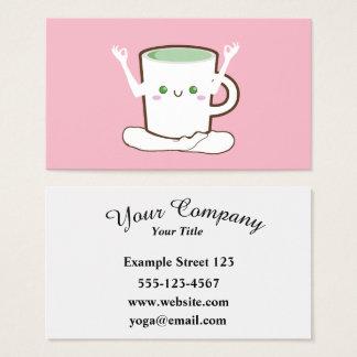 Green Tea cup doing Yoga Business Card