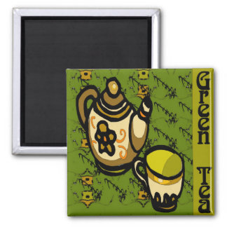 Green Tea Square Magnet