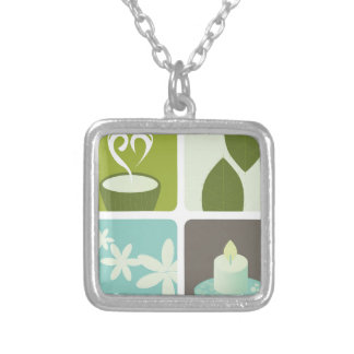 GREEN TEA NATURAL LEAVES LUXURY ART EDITION SILVER PLATED NECKLACE