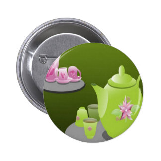 Green tea sets design pinback button