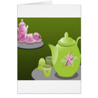 Green tea sets design card